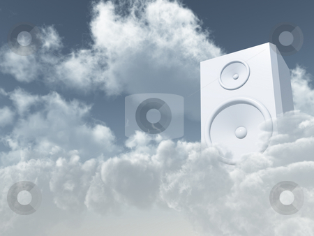 Heavenly sound stock photo, White loudspeaker in cloudy sky - 3d illustration by J?