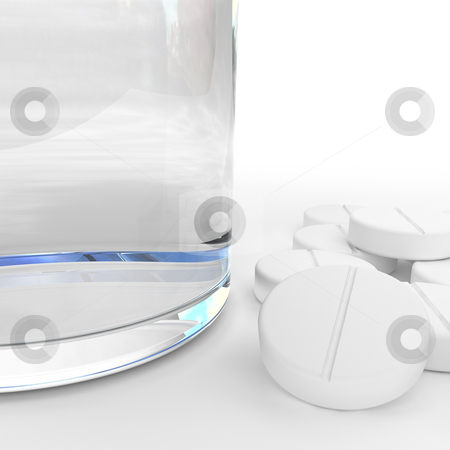 Headache stock photo, Glass of water and pills isolated on white by Magnus Johansson