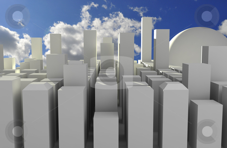 Future city stock photo, Simplistic illustration of a cityscape in the future by Magnus Johansson