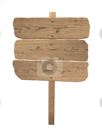 Old wood sign stock photo, Vintage wood sign isolated over white by Magnus Johansson