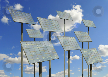 Solar cell panels stock photo, Solar cell panels against the sky by Magnus Johansson