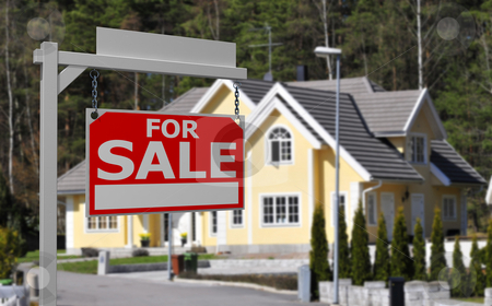 Real estate sign  stock photo, Real estate sign in front of luxurious home by Magnus Johansson