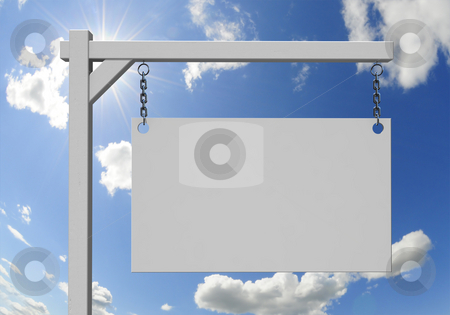 Real Estate sign stock photo, Empty real estate sign with sunny sky background by Magnus Johansson