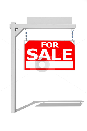 Real estate sign stock photo, Real estate sign on white by Magnus Johansson