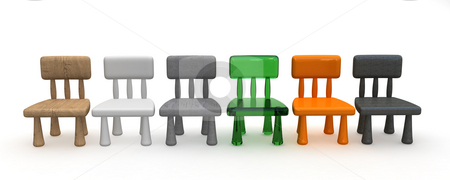 Childrens chair stock photo, Toy chairs in different materials by Magnus Johansson