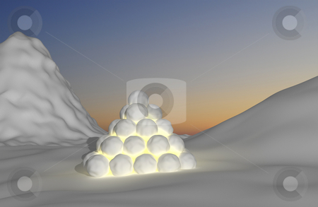 Snowy montain light stock photo, Lantern/lamp made of snowballs with candle light inside.  Snowy landscape and sunset by Magnus Johansson