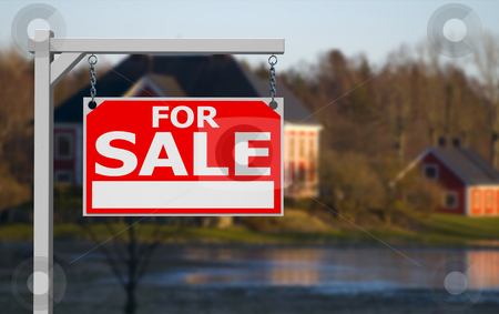 Real estate sign stock photo, Real estate sign in front of idyllic countryside mansion by Magnus Johansson