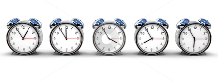 Alarm clocks stock photo, Five retro alarm clocks isolated over white, each with different time by Magnus Johansson