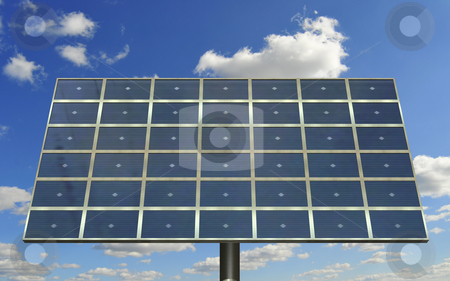 Solar cell panel stock photo, Solarcell panel against the sky by Magnus Johansson