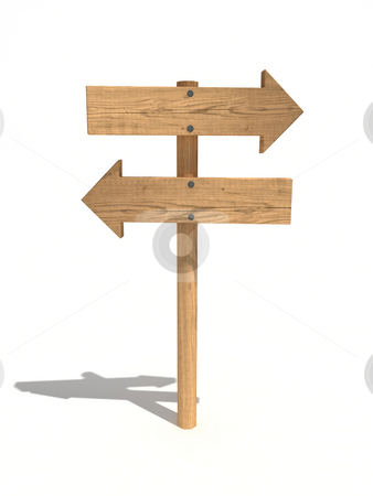 Two way wood sign stock photo, Two way wood sign/arrows by Magnus Johansson