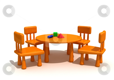 Furniture for kids stock photo, Plastic furniture and toys  for kids by Magnus Johansson