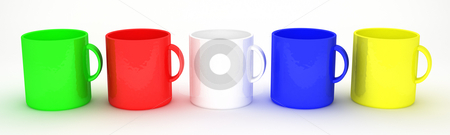 Assorted mugs stock photo, Colorful blank mugs by Magnus Johansson