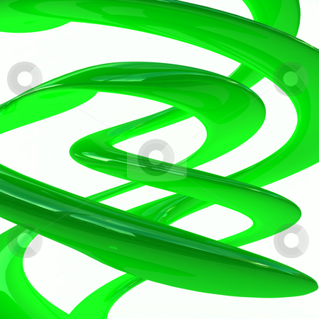 Smooth green swirls stock photo, Abstract background with smooth green swirls on white by Magnus Johansson