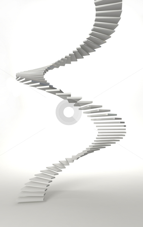 Spiral stair stock photo, White spiral stair in white room by Magnus Johansson