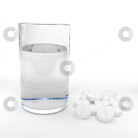 Pain relief stock photo, Glass of water and medication by Magnus Johansson