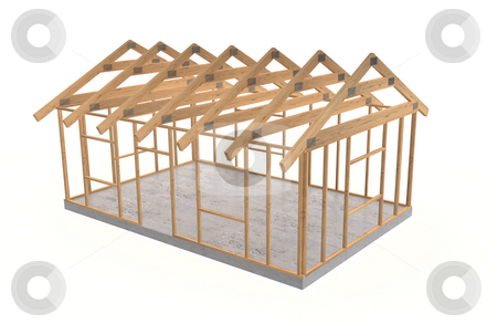 Wood house frame stock photo, Wooden framework on small basic house by Magnus Johansson