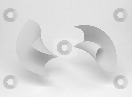 Dancing paper sheets stock photo, Two paper sheets blowing around in the air by Magnus Johansson