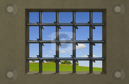 In jail stock photo, View trough cell window in county jail by Magnus Johansson