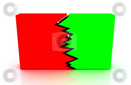 Two sides business stock photo, Big green and red block with a crack between. business concept by Magnus Johansson
