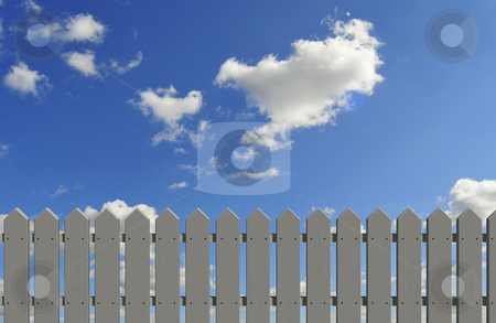 Fence and sky stock photo, White/gray fence and blue sky by Magnus Johansson