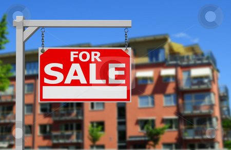 Real estate sign stock photo, Real estate sign in front newbuilt condos by Magnus Johansson