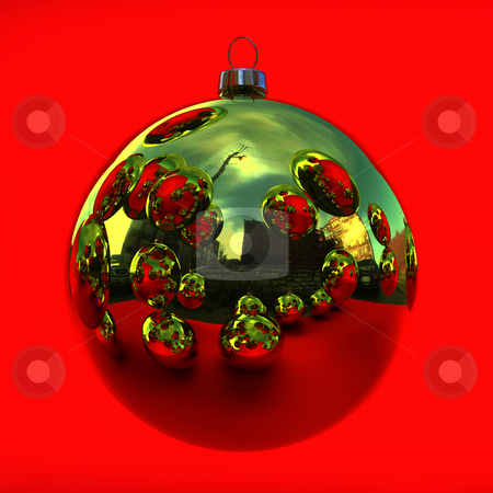 Golden christmas decoration stock photo, Reflecting golden chrismas decoration on red by Magnus Johansson
