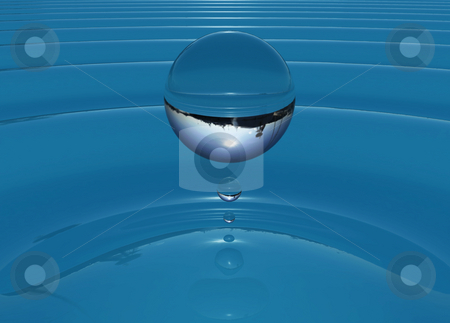 Ripple bubble stock photo, Drop of water creating ripples in water by Magnus Johansson