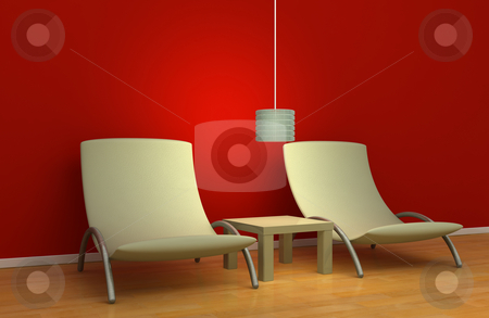 Simple interior design stock photo, Modern simplistic interior design, 3d render by Magnus Johansson
