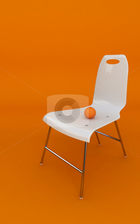 Orange stock photo, White chair with an orange on orange background by Magnus Johansson