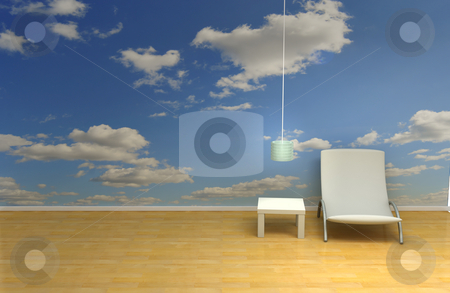Sky room stock photo, Room with blue sky wallpaper by Magnus Johansson