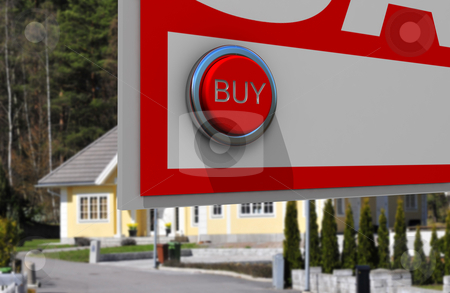 Real estate button stock photo, Real estate sign with button for buyers by Magnus Johansson