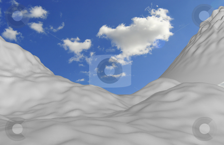 Snowy mountain stock photo, Snowy mountain with blue perfect sky by Magnus Johansson