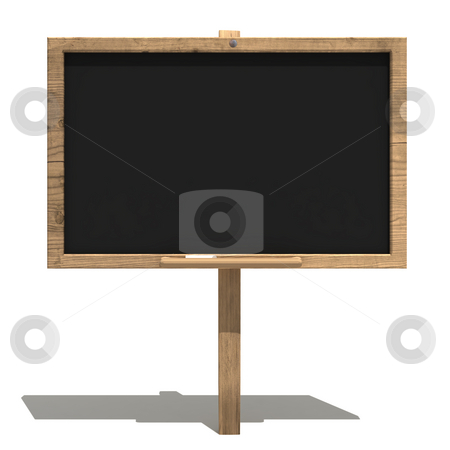 Old blackboard stock photo, Blackboard with old wood frame and apiece of chalk by Magnus Johansson