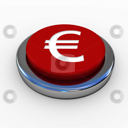 Red button stock photo, Red button with Euro sign in white by Magnus Johansson