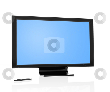 Lcd Flat screen stock photo, Modern lcd tv/monitor and remote control isolated over white by Magnus Johansson