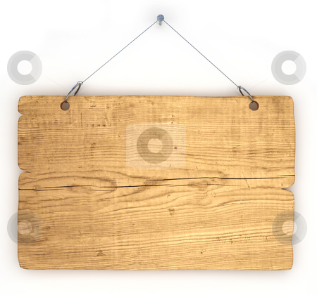 Old wood notice board stock photo, Empty notice board made of old wood hanging on a nail by Magnus Johansson