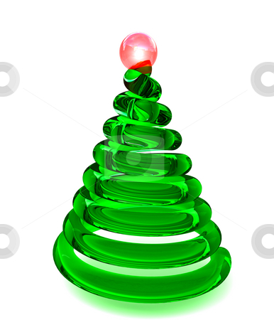 Christmas tree in glass stock photo, Christmas tree in smooth shiny glass by Magnus Johansson
