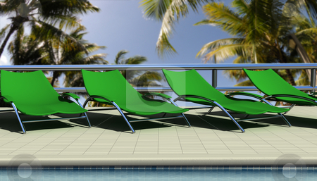 Sun chairs  stock photo, Sun chairs by the pool at fancy tropical resort by Magnus Johansson