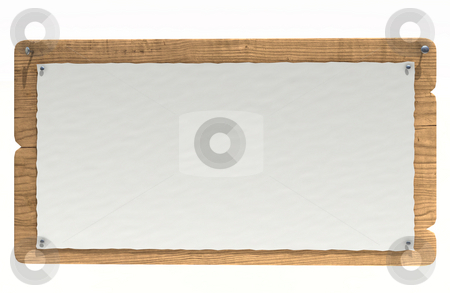 Wooden notice board stock photo, Old wooden notice board isolated over white by Magnus Johansson