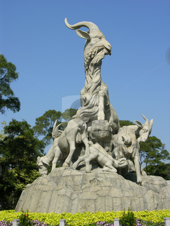 Five Goat Statue Yue Xiu Park Guangzhou stock photo, Five Goat Statue is the symbol of Guangzhou, much like the Statue of Liberty in New York City.  Guangzhou, Guangdong Province, China by William Perry