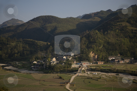 Rural Chinese Village Guizhou China stock photo, Rural Chinese Village and Fields, Guizhiou Province, China by William Perry