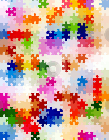 Vibrant jigsaw pieces pattern stock photo, Seamless texture of colorful bright jigsaw puzzle pieces by Wino Evertz