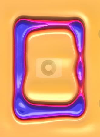 3d retro frame stock photo, Texture of 3d silicon violet grunge frame shape on orange by Wino Evertz