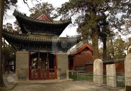 Pavilion and Memorial Tablets Mencius Temple Shandong, China stock photo, Pavilion and Memorial Tablets, Mencius Temple, Zoucheng, Shandong, China by William Perry