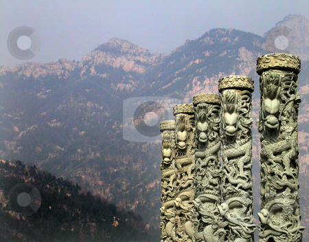 Mount Tai Shandong Province China stock photo, Dragons and Mount Tai, Tai Shan, Shandong Province, China by William Perry