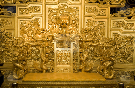 Chinese Golden Emperor's Throne with Dragons Reproduction stock photo, Chinese Golden Emperor's Throne with Dragons Reproduction by William Perry