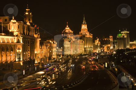 Shanghai Bund at Night With Cars stock photo, The Bund, Old Part of Shanghai, At Night with Cars etc. by William Perry