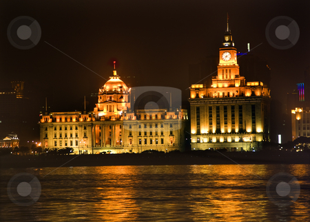 Shanghai Bund at Night Close Up stock photo, The Bund, Old Part of Shanghai, No 12 HSBC Bank Building Old Customs House At Night Trademarks removed.  Buildings were built in the 1920s and 1930s.  HSBC Bank Building was taken over by the Chinese government in 1949 and became the Shanghai City Government building. by William Perry
