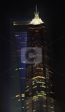 Large Financial Center Skyscrapers at Night Shanghai China stock photo, Large Financial Center Skyscrapers at Night Shanghai China by William Perry