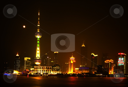 Shanghai Pudong At Night TV Tower Water Reflections stock photo, Shanghai China Cityscape at Night Pudong TV Tower and Skyline